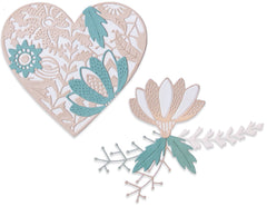 Sizzix Thinlits Dies By Jenna Rushforth 9/Pkg - Bold Floral Heart