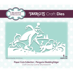 Creative Expressions Paper Cuts Edger Craft Dies - Penguins Sledding