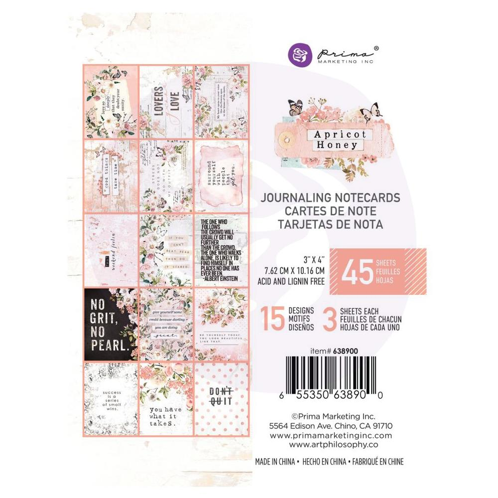 Prima Marketing - Apricot Honey - Journaling Cards 3 inchX4 inch 45 pack,15 Designs/3 Each