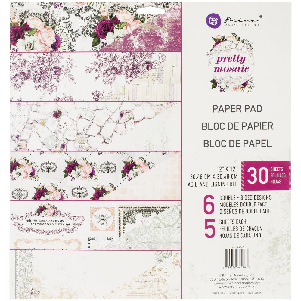 Prima Marketing Double-Sided Paper Pad 12in x 12in 30 pack - Pretty Mosaic