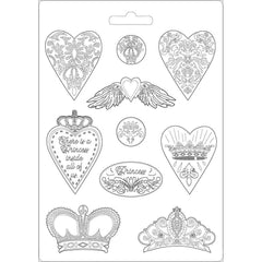 Stamperia Soft Maxi Mold 8.5in X11.5in - Heart & Crowns, Princess