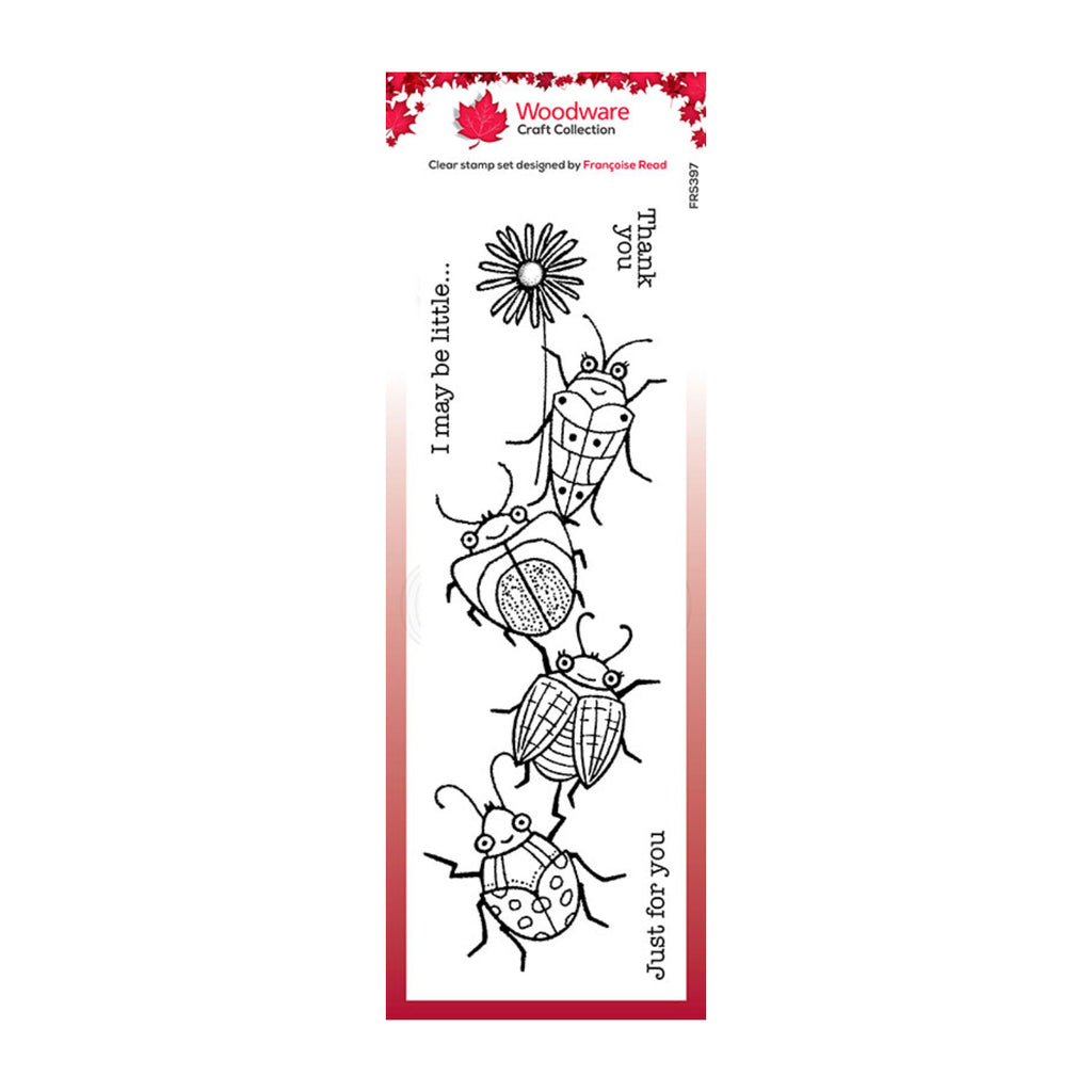 Woodware Craft Collection Clear Acrylic Stamps 2.6in x 8in - Beetle Flower
