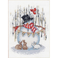 Dimensions Counted Cross Stitch Kit 5in x 7in - Joyful Snowman (14 Count)