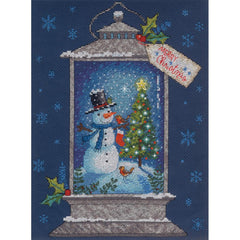 Dimensions Counted Cross Stitch Kit 9in x 12in - Snowman Lantern (14 Count)