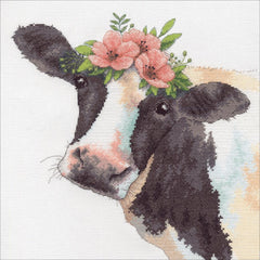 Dimensions Counted Cross Stitch Kit 12in x 12in Sweet Cow (14 Count)