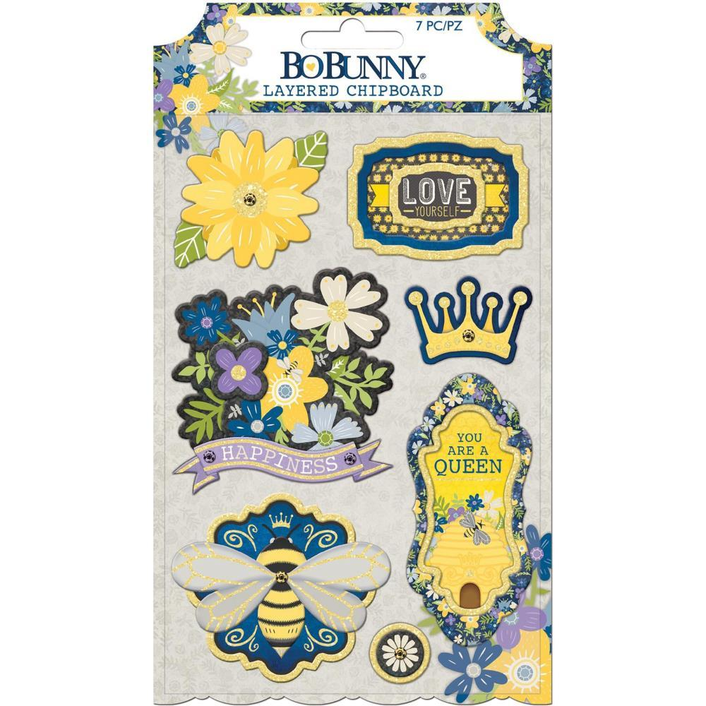 BoBunny - Bee-Utiful You Adhesive Layered Chipboard 7 pack with Gold Glitter Accents