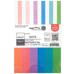 Waffle Flower 80lb Single-Sided Paper Pad 5.5in x 8.5in 36 pack - Half Dots/Botanical, 12 Designs/3 Each