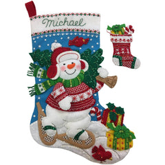 Bucilla - Felt Stocking Applique Kit 18 inch Long Nordic Snowman