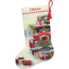 Dimensions Counted Cross Stitch Kit 16in Long - Santa's Truck Stocking