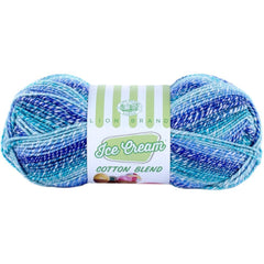 Lion Brand Ice Cream Cotton Blend Yarn - Blueberry - 3.5oz (100g)