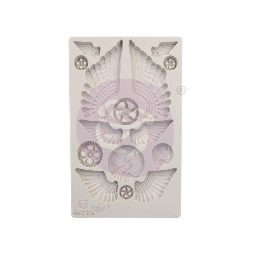 Prima Marketing Finnabair Decor Moulds 5 inch X8 inch Cogs & Wings