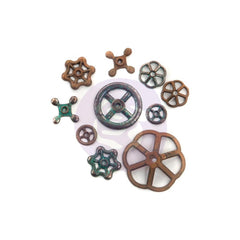 Prima Marketing Finnabair Mechanicals Metal Embellishments Rusty Knobs 10 pack