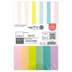 Waffle Flower 80lb Single-Sided Paper Pad 5.5in x 8.5in 36 pack - Half Dots/Unicorn, 12 Designs/3 Each