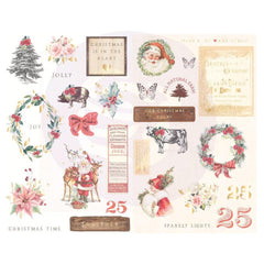 Prima Marketing - Christmas In The Country - Chipboard Stickers 29 pack - Icons with Foil Accents