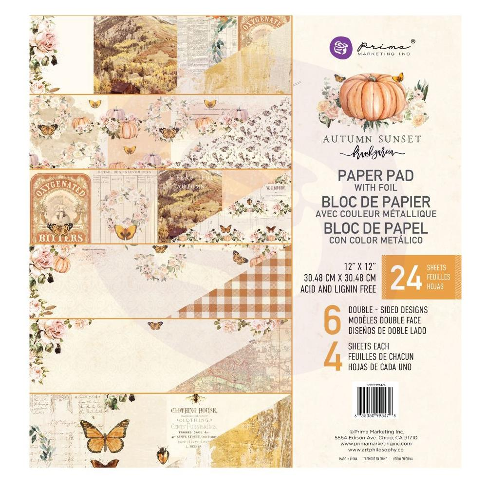 Prima Marketing - Double-Sided Paper Pad 12 inchX12 inch 24 pack - Autumn Sunset - 6 Designs/4 Each