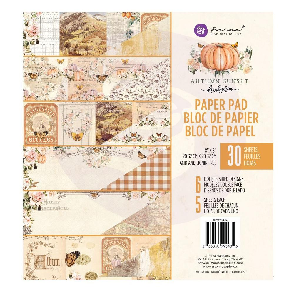 Prima Marketing - Double-Sided Paper Pad 8 inchX8 inch 30 pack - Autumn Sunset - 6 Designs/5 Each