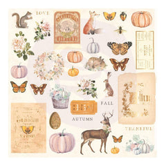 Prima Marketing - Autumn Sunset - Cardstock Ephemera 36 pack - Shapes, Tags, Words, Foiled Accents
