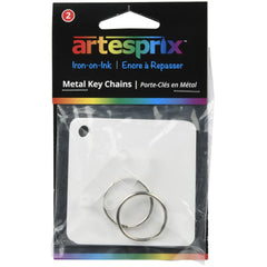 Artesprix Iron-On-Ink Key Chain 2 pack - Metal, White 2.4in x 2.4in