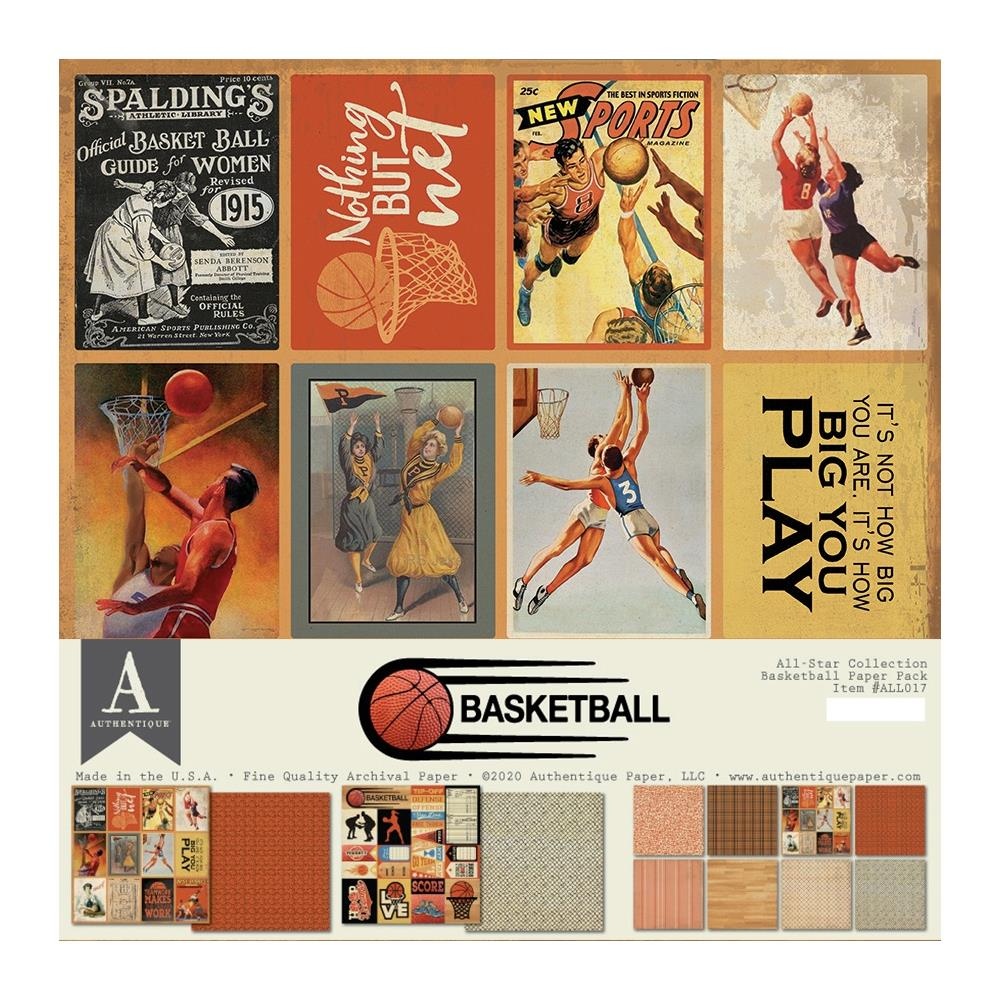 Authentique All-Star Paper Pack 12in x 12in - Basketball