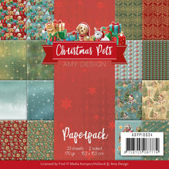 Find It Trading Amy Design Paper Pack 6in x 6in 23 pack  - Christmas Pets, Double-Sided