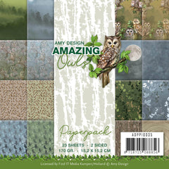 Find It Trading Amy Design Paper Pack 6in x 6in 23 pack  - Amazing Owls, Double-Sided