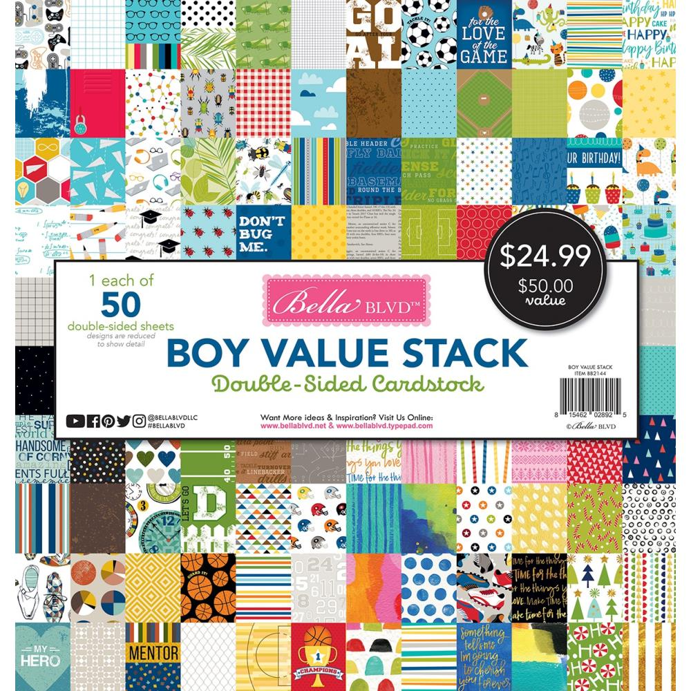 Bella Blvd Double-Sided Cardstock Stack 12in x 12in  50 pack - Boy