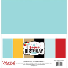 "Echo Park Double-Sided Solid Cardstock 12""x 12"" 6 pack  Magical Birthday Boy, 6 Colours"