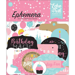 Echo Park Cardstock Ephemera 33 pack  Icons, Magical Birthday Girl