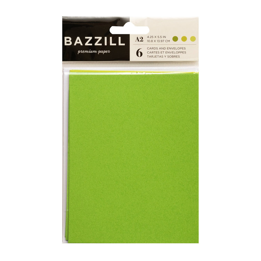 Bazzill Cards with Envelopes 4.25in x 5.5in 6 pack  - Bright Greens