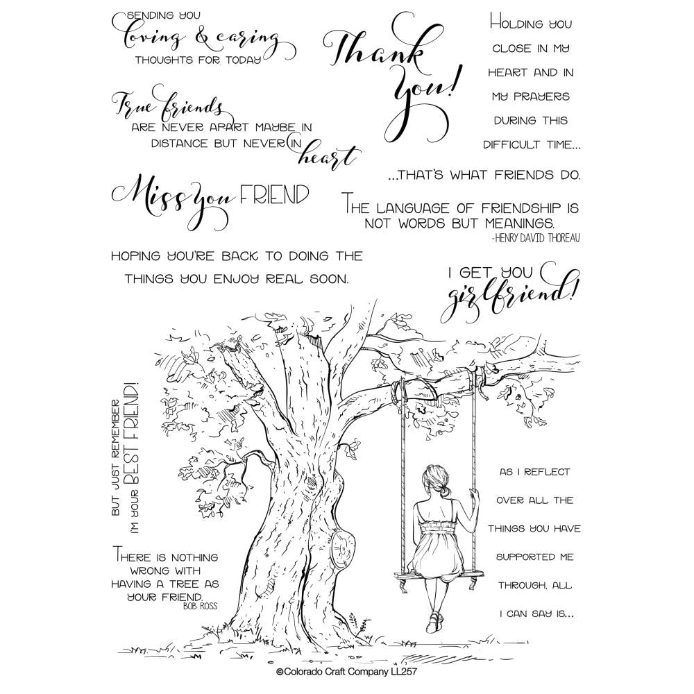 Colorado Craft Company Clear Stamps 6 inch X8 inch - Reflection Tree-Lovely Legs