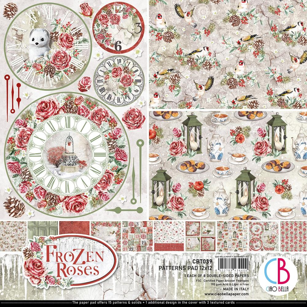 Ciao Bella Double-Sided Paper Pack 90lb - 12in x 12in  8 pack - Frozen Roses, 8 Designs/1 Each
