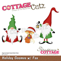 CottageCutz Dies - Holiday Gnomes  with Fox, 4.7 inch X3.1 inch