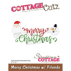 CottageCutz Dies - Merry Christmas  with Friends, 4 inch X1.9 inch
