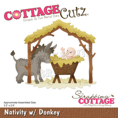 CottageCutz Dies - Nativity  with Donkey, 3.2 inch X2.6 inch