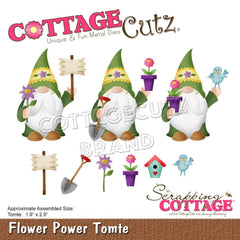 CottageCutz Dies - Flower Power Tomte 1.9in x 2.9in