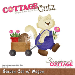 CottageCutz Dies - Cat with Wagon 3.5in x 3in