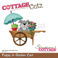 CottageCutz Elites Die - Puppy In Garden Cart 3.7in x 3.1in