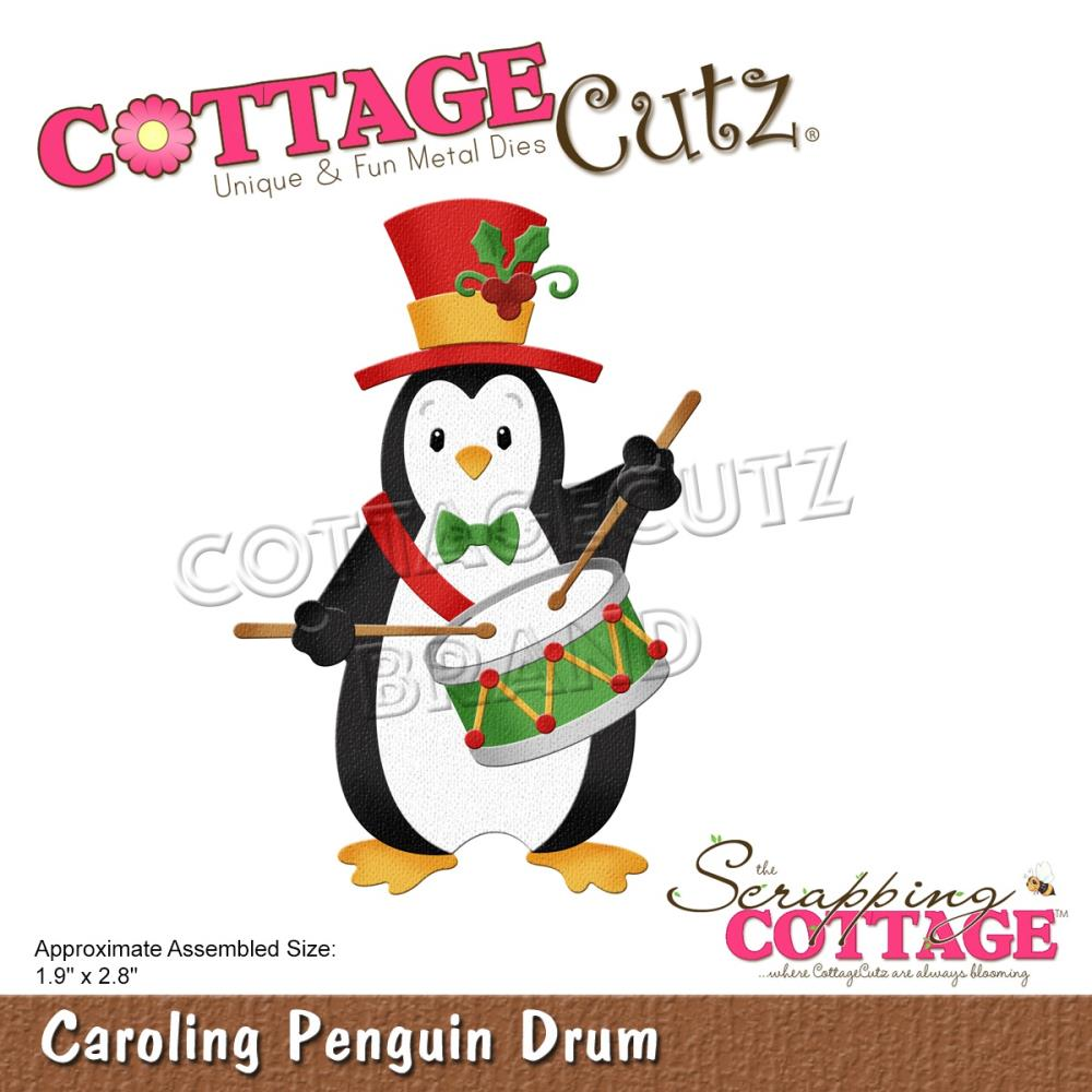 CottageCutz Dies - Carolling Penguin Drum 1.9in x 2.8in