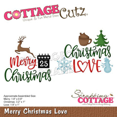 "CottageCutz Dies Merry Christmas Love 3.2"" To 0.9"""