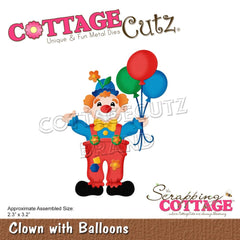 "CottageCutz Dies - Clown With Balloons 2.3""X3.2"""
