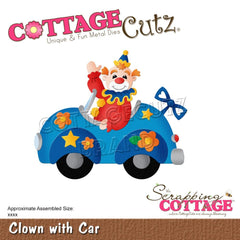 "CottageCutz Dies - Clown With Car 3.3""X2.8"""