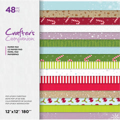 Crafter's Companion Printed Double-Sided Paper Pad 12in x 12in - Pop-Up Box Christmas