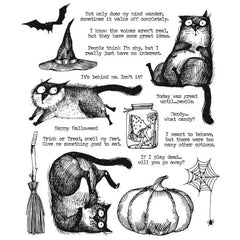 Tim Holtz Cling Stamps 7in x 8.5in - Snarky Cat Halloween