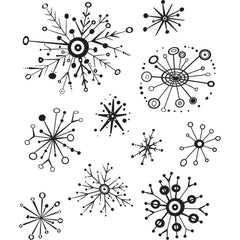 Tim Holtz Cling Stamps 7in x 8.5in - Retro Flakes