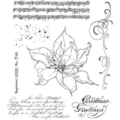 "Tim Holtz Cling Stamps 7""X8.5"" The Poinsettia"