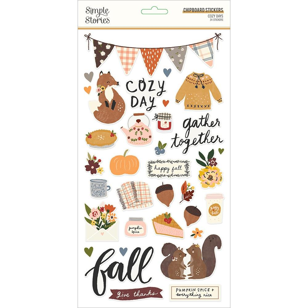 Simple Stories Cozy Days - Chipboard Stickers 6in x 12in