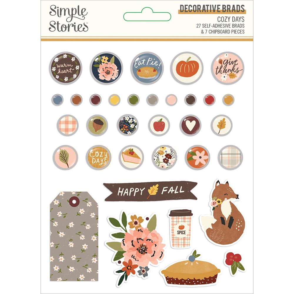 Simple Stories Cozy Days - Decorative Brads 34 pack