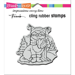 Stampendous Cling Stamp - Scarf Kitty