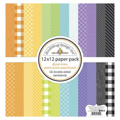 Doodlebug Petite Prints Double-Sided Cardstock 12in x 12in 12 pack  - Ghost Town, 12 Designs/1 Each