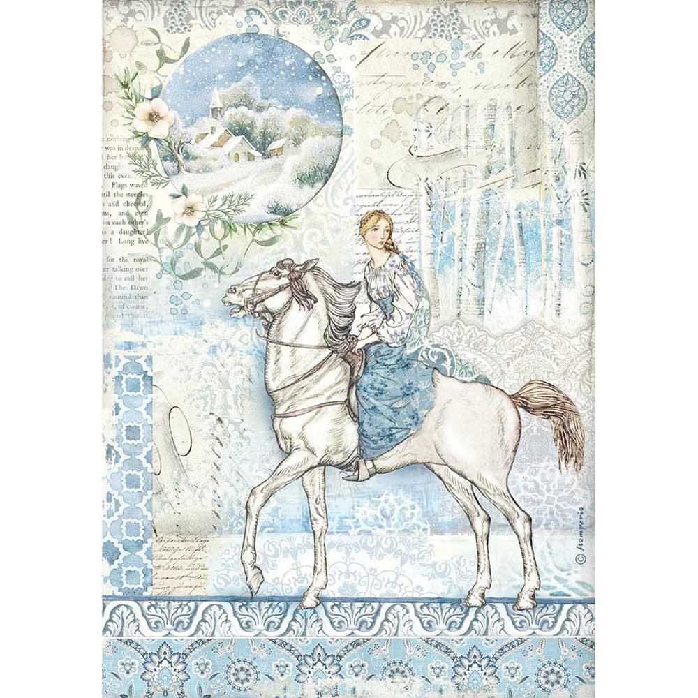 Stamperia Rice Paper Sheet A4 - Horse, Winter Tales
